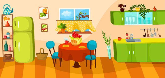 Disegno di una cucina con tavolo rotondo
